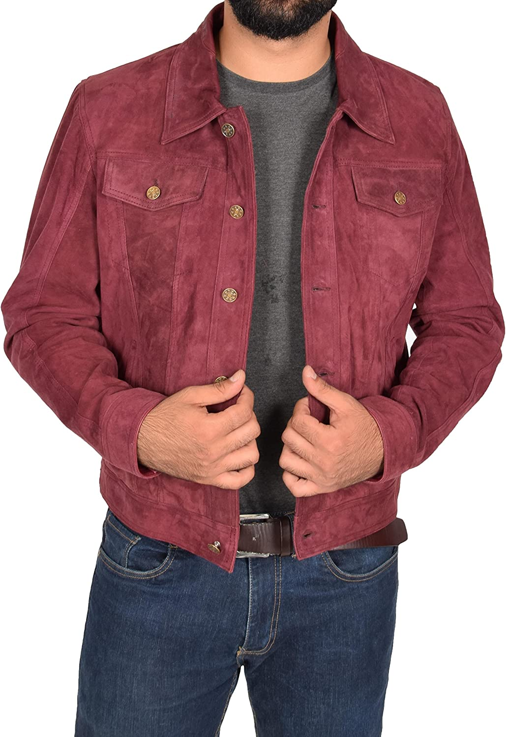 Infinity Mens Trucker Casual Burgundy Goat Suede Leather Shirt Jeans Jacke