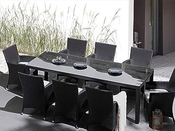 Beliani Mesa de ratán con 8 sillas - Juego de Comedor para ...