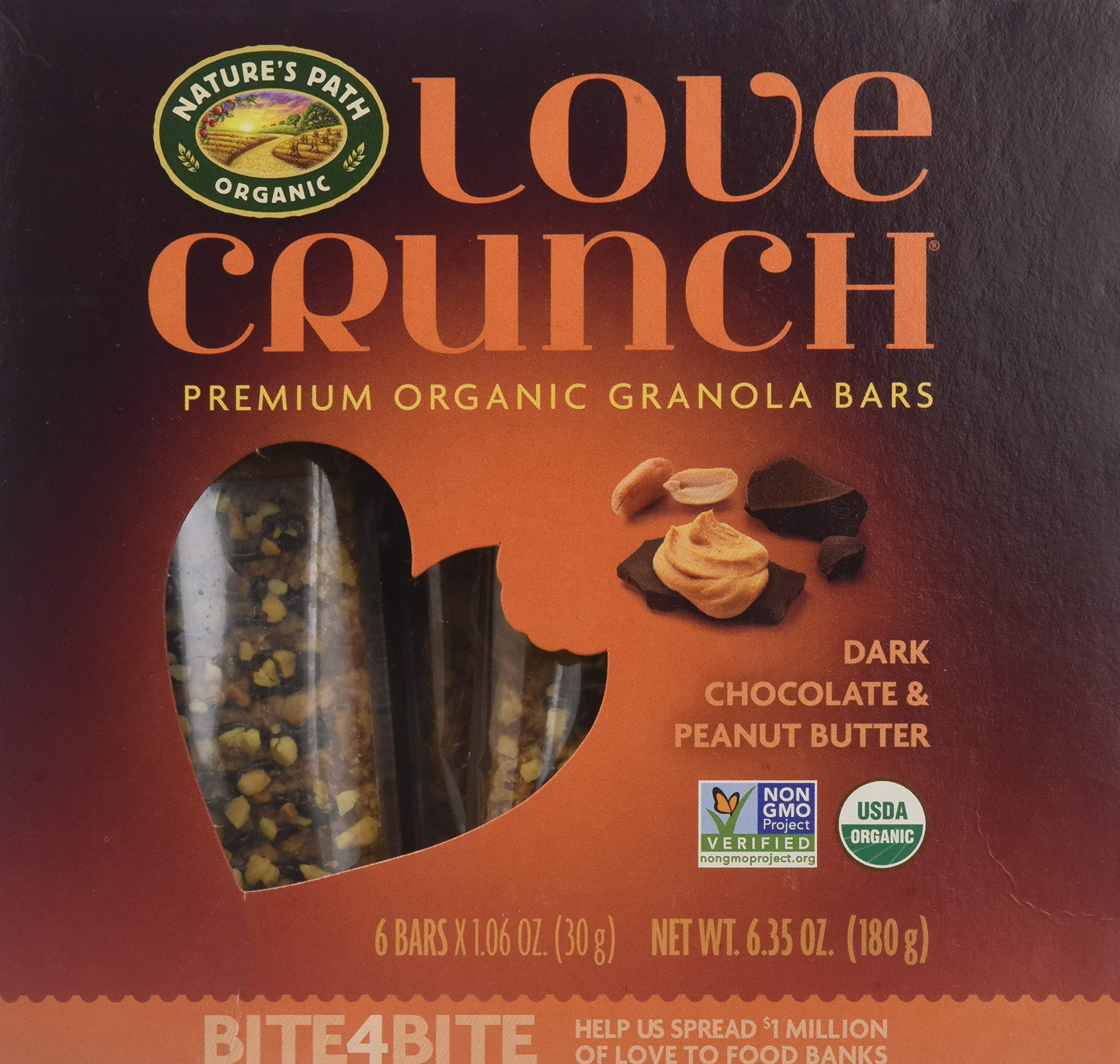 Natures Path Bar Love Crunch Dark Chocolate Peanut butter, 6.35 oz by Nature's Path