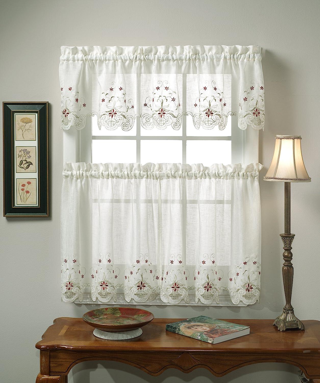 Todays Curtain Sunshine Semi Sheer Reverse 14-Inch Embroidery Valance Ecru//Burgundy