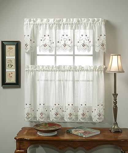 Today s Curtain Sunshine Semi Sheer Reverse 36-Inch Embroidery Tier, Ecru Burgundy