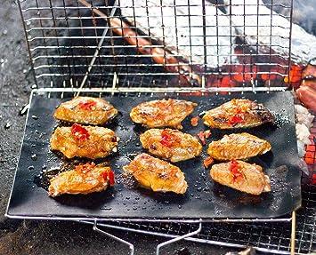 Yuehuam Canasta de Parrilla para Barbacoa Canasta Port/átil para Asar Utensilios de Cocina para Asar de Acero Inoxidable con Mango de Madera Extra/íble Y Lisa para Filete de Pescado con