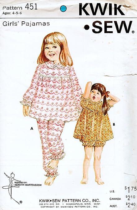 Amazon Kwik Sew 451 Girls Pajamas Sewing Pattern Designed Knit