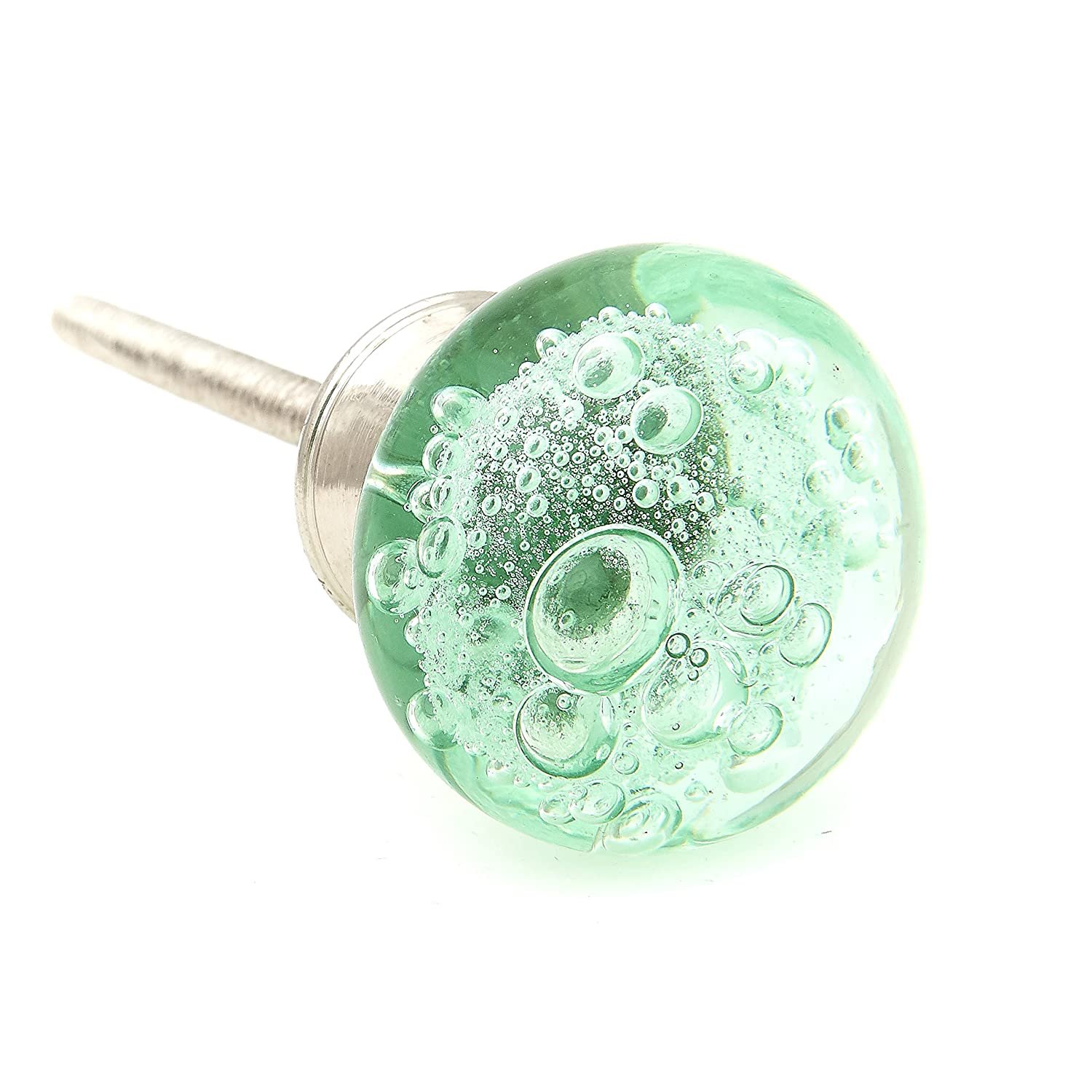 Green Bubbles Glass Dresser Drawer, Kitchen Cabinet Drawer or Door Knobs - Pack of 12