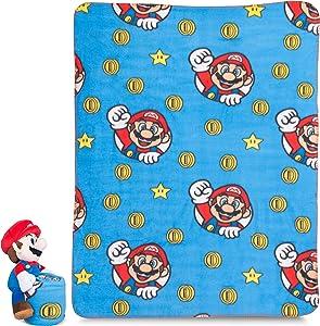 "Franco Kids Bedding Soft Plush Throw and Hugger Pillow Set, 40"" x 50"", Super Mario"