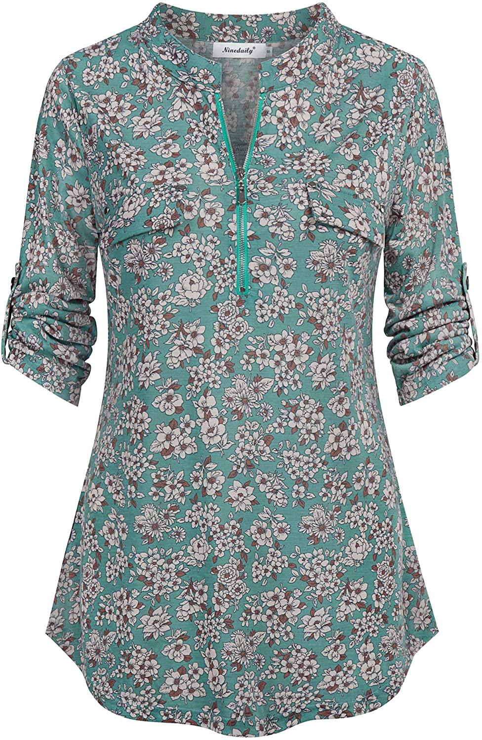 Ninedaily Women's 3/4 Sleeve Roll up Shirts Zip Floral Casual Tunic Blouse Tops