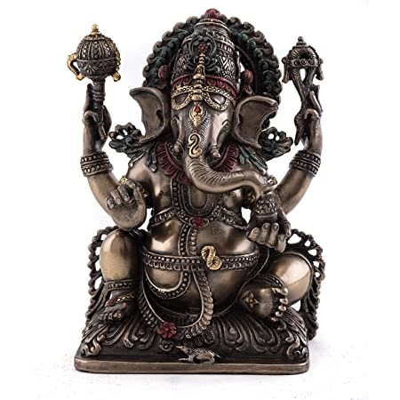 Top Collection Ganesh Statue- Lord of Prosperity Fortune Sculpture in Cold Cast Bronze-5.75-Inch Figurine