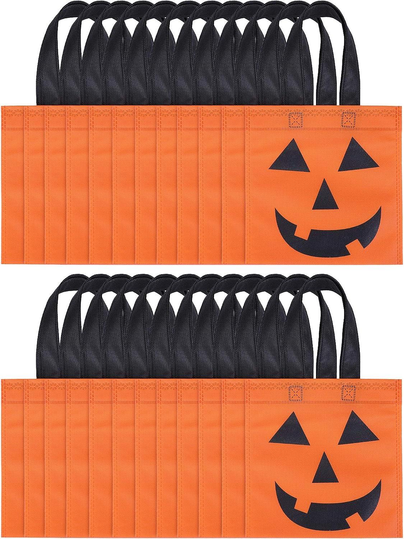 24 Pezzi Halloween Borse di Tela Jack-O-Lantern Sacchetti di Zucca Sacchetto di Caramelle Non Tessuto Borse di Trick Or Treat per Bomboniere di Halloween Boao