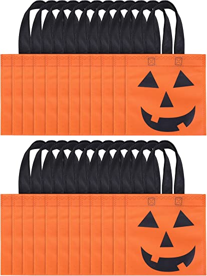 Boao 24 Pieces Halloween Tote Bags Jack-O-Lantern Pumpkin Bags Non-Woven Candy Bag Trick or Treat Bags for Halloween Party Favors