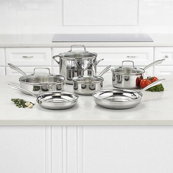 Cuisinart TPS-10 - Batería de cocina triple con 10 piezas, acero ...