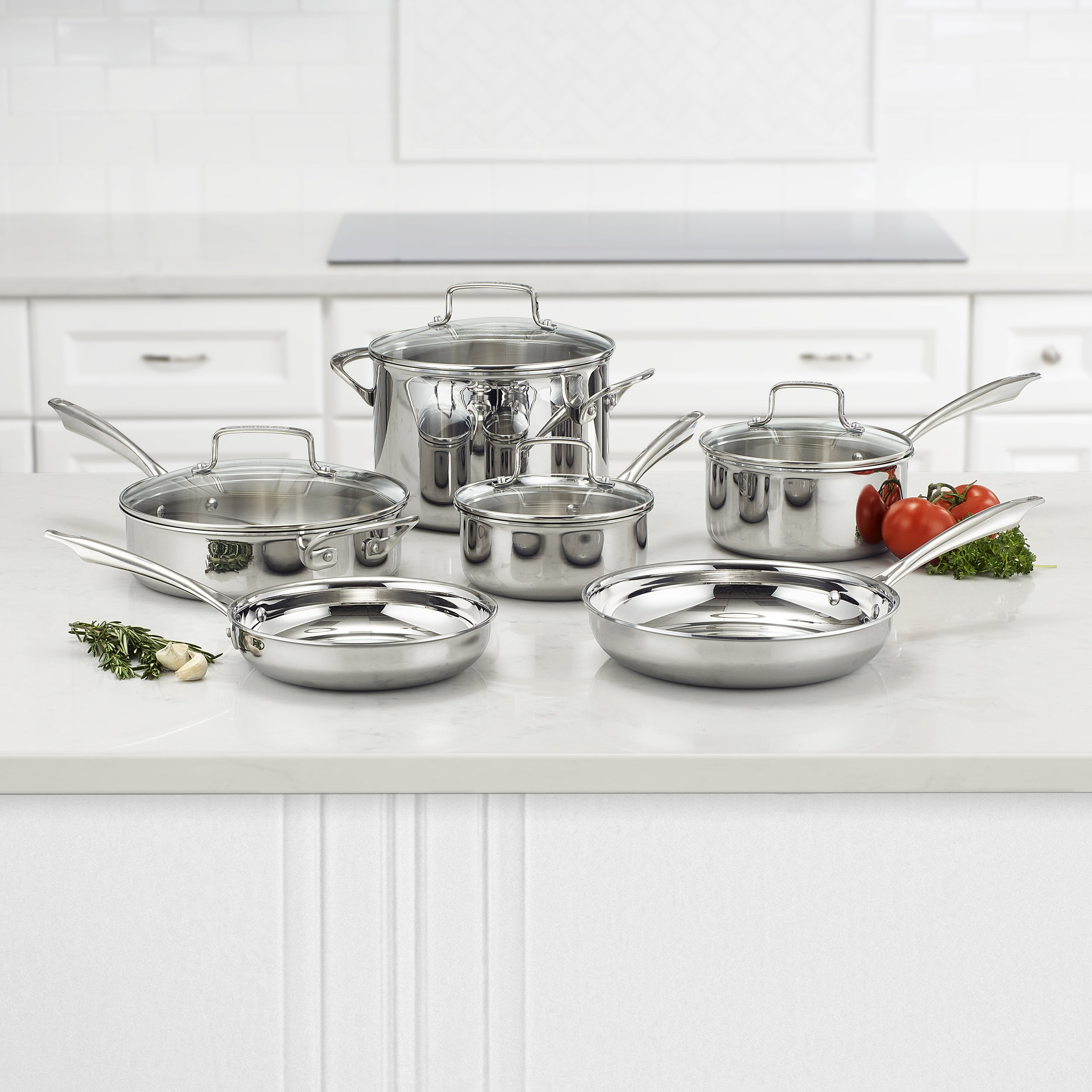 Cuisinart TPS-10 10 Piece Tri-ply Stainless Steel Cookware Set, PC, Silver by Cuisinart (Image #2)