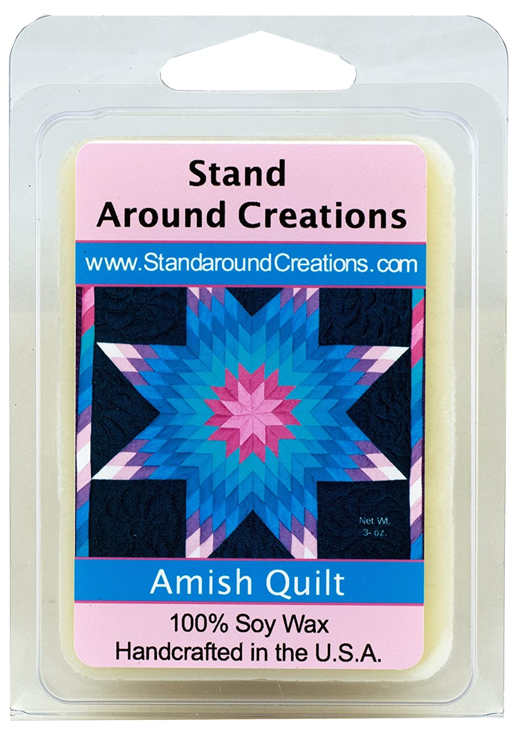 Amish Quilt Soy Wax Melt Tart- Spicy, sweet, and complex. Vanilla with a hint of cinnamon, clove, allspice and sugar. Hints of nutmeg and fruits peek out from the heart notes. 3oz - Naturally Strong Stand Around Creations