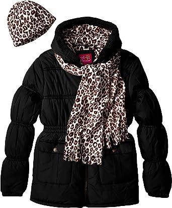 Pink Platinum Little Girls Puffer Coat with Faux Fur Trim