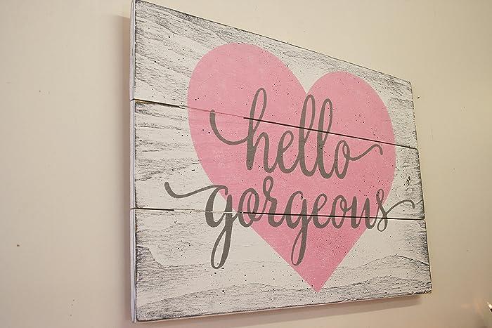 Hello Gorgeous Wood Sign Girls Nursery Wall Decor
