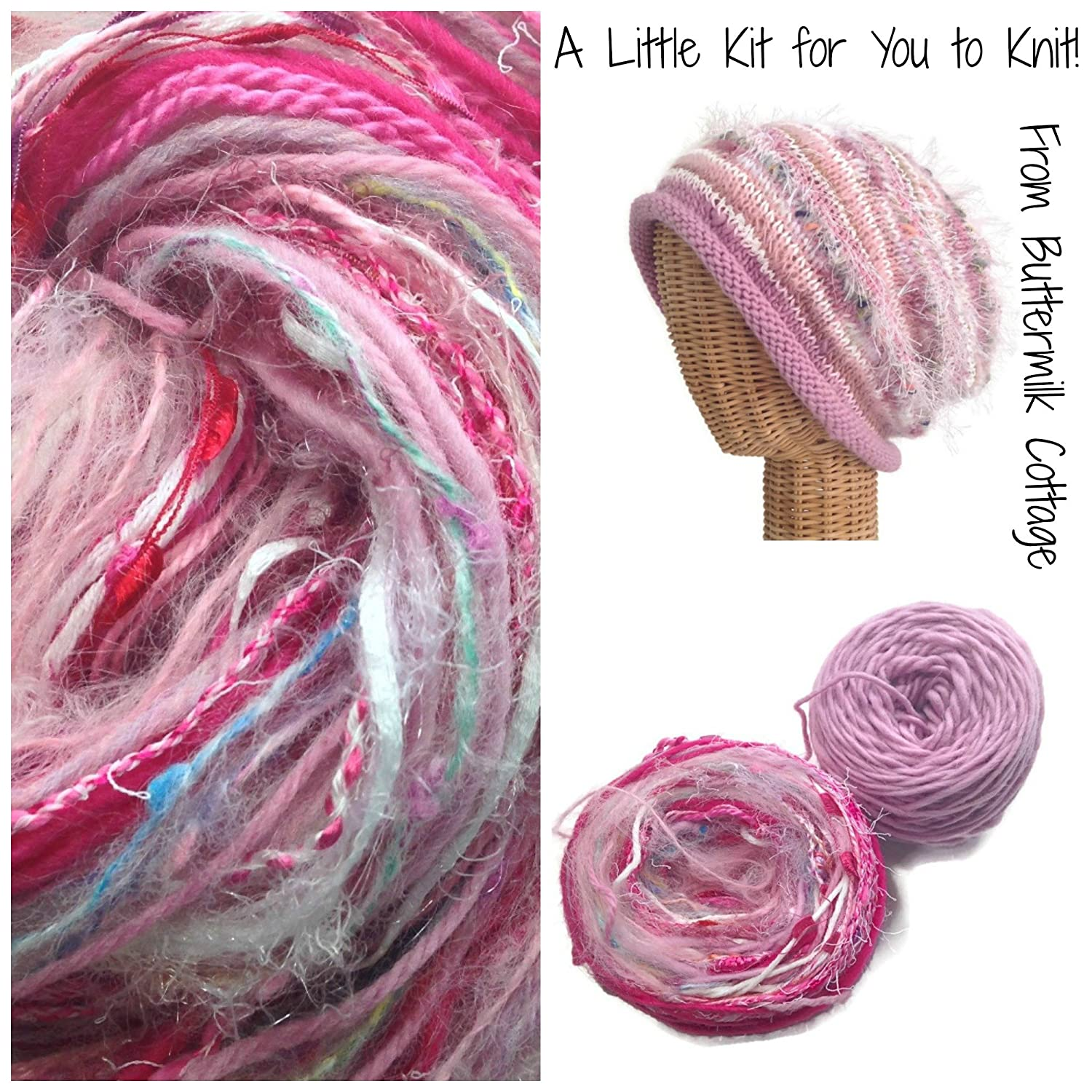 Boutique Yarn Slouchy Hat Knitting Kit Pink Buttermilk Cottage