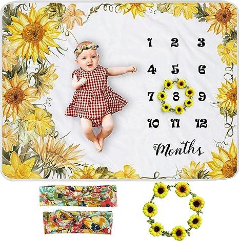 Baby Girl Milestone Blanket Personalized Monthly Blanket Floral Girl Blanket Wreath Monthly Baby Blanket Baby Girl Gift Blanket Boho Blanket
