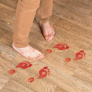 Fun Express - Bloody Footprints Floor Cling for Halloween - Party Decor - General Decor - Floor Clings - Halloween - 2 Pieces