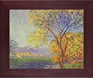 La Pastiche MON2476-FR-G20068X10 Antibes, View of Salis with Open Grain Mahogany Framed Hand Painted Oil Reproduction, 12.5