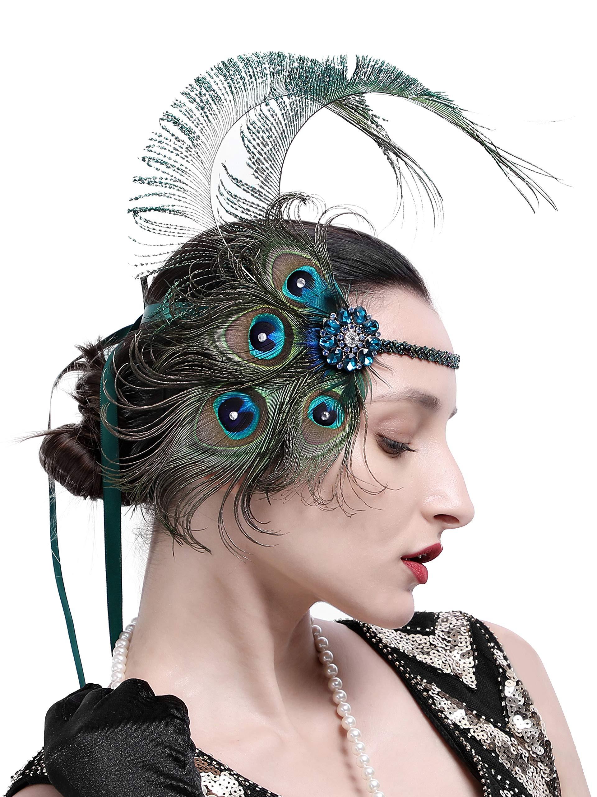 Zivyes 1920s Accessories Peacock Feather Headband Women's Costume Headwear Hat Accessories Flapper Wedding Headpiece