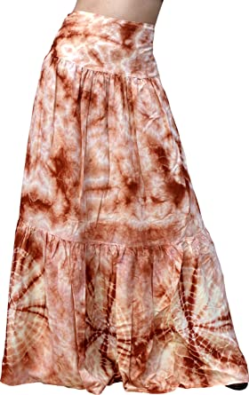 f3e2a489b5e59 Raan Pah Muang RaanPahMuang Brand Wide Pleated Viscose Wrap Tied Skirt With Tie  Dye Gypsy Art, X-Large, Brown at Amazon Women's Clothing store: