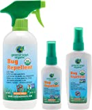 GREENERWAYS ORGANIC Insect Repellent, Bug Spray, Premium, USDA Organic, Non-GMO, Mosquito-Repellent, Clothing Safe, Kid Safe, Pet Safe, Baby Repellant, DEET FREE, 3-PACK DEAL (1) 2oz (1) 4oz (1) 16oz