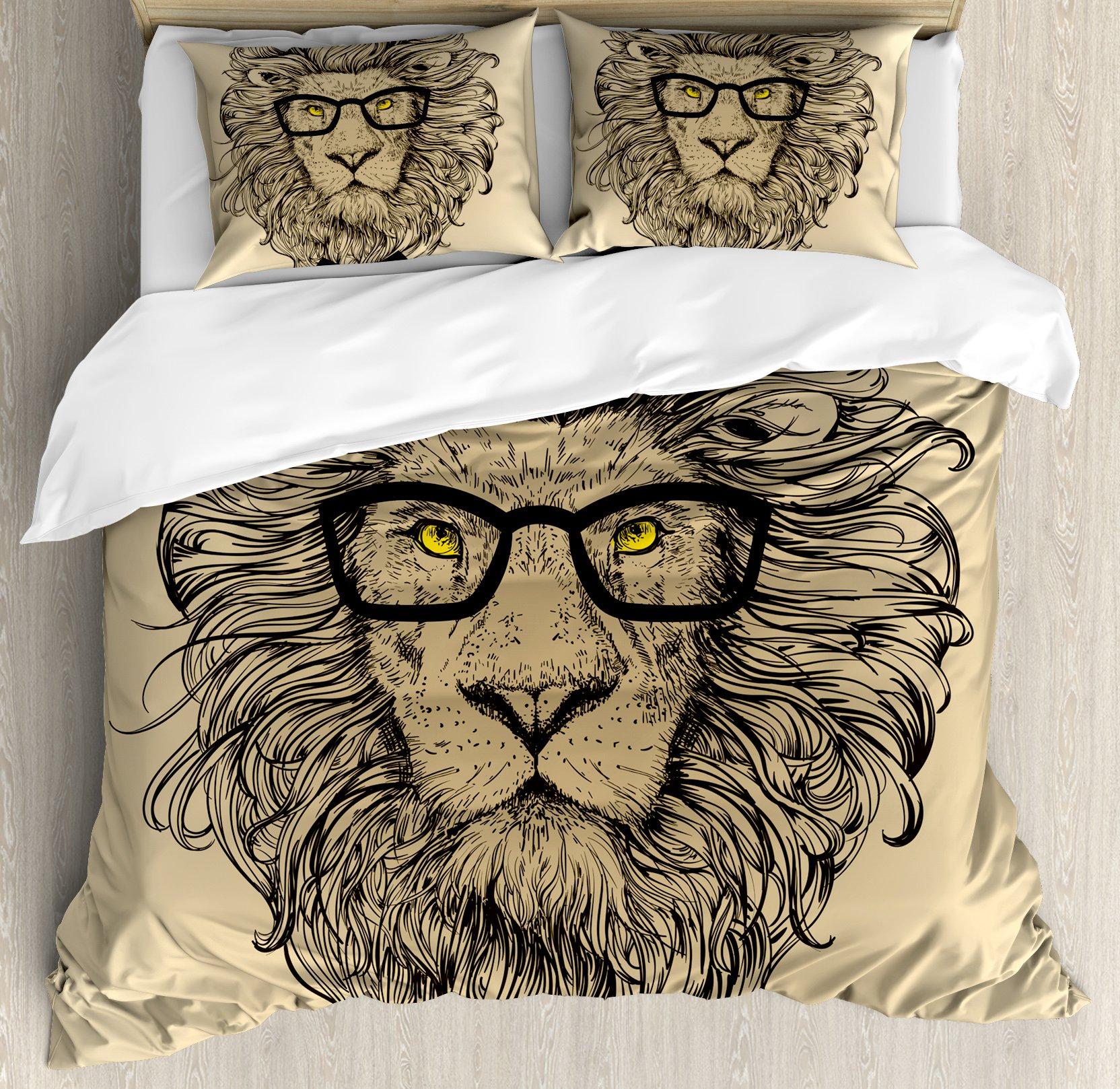 Indie Duvet Cover Set Queen Size by Ambesonne, Lion Character Portrait with Glasses and Bowtie Hipster Smart Cool Dandy, Decorative 3 Piece Bedding Set with 2 Pillow Shams, Sand Brown Black Yellow