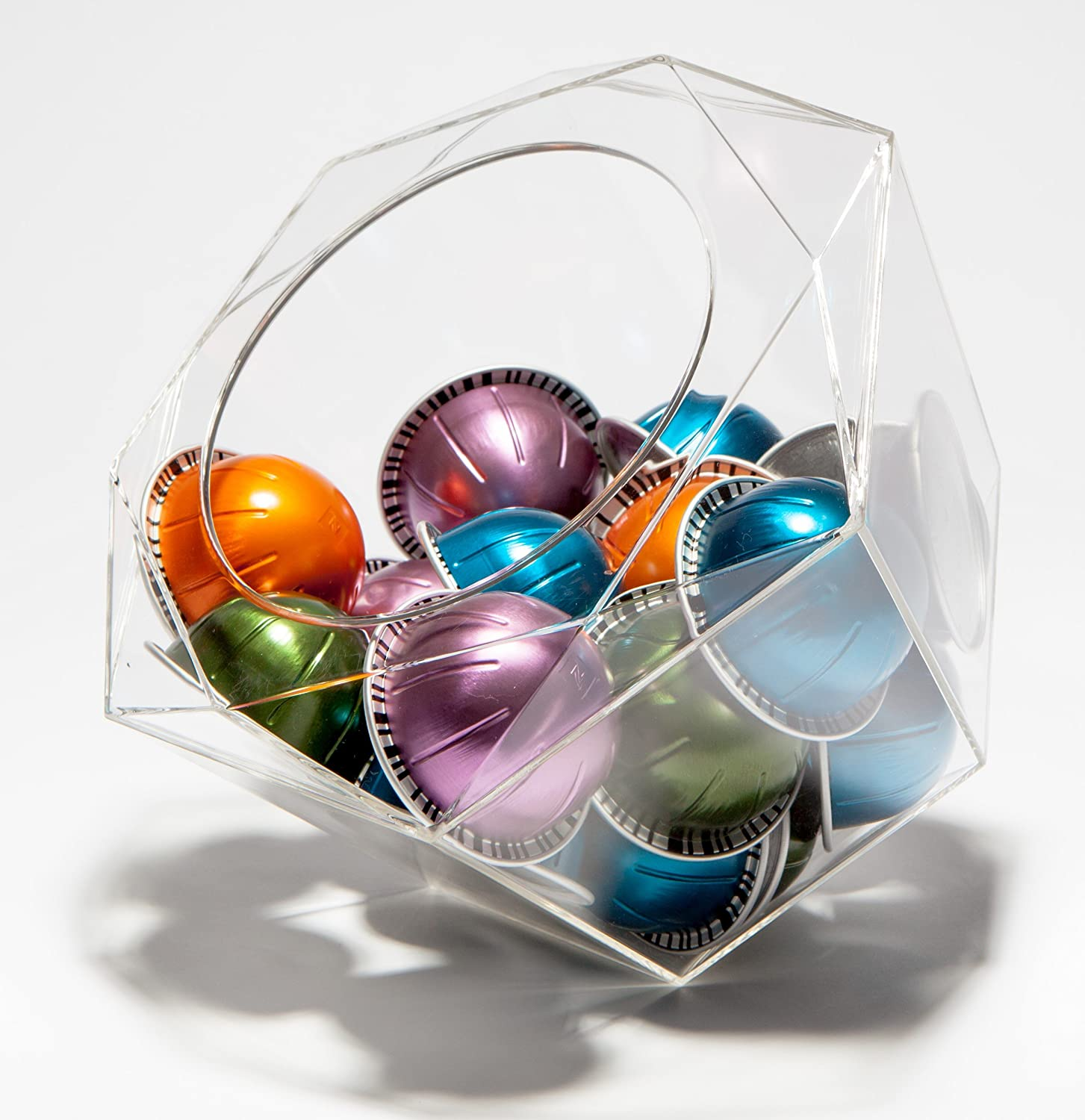 Verre Collection Hexagon Plexiglass Capsule Pod Holder, Compatible for Nespresso Vertuoline, K-Cups, Dolce Gusto, Clear Dispenser, Storage Solution