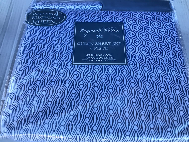 Raymond Waites De Lit 300 Fils Satin De Coton 6 Pieces Queen