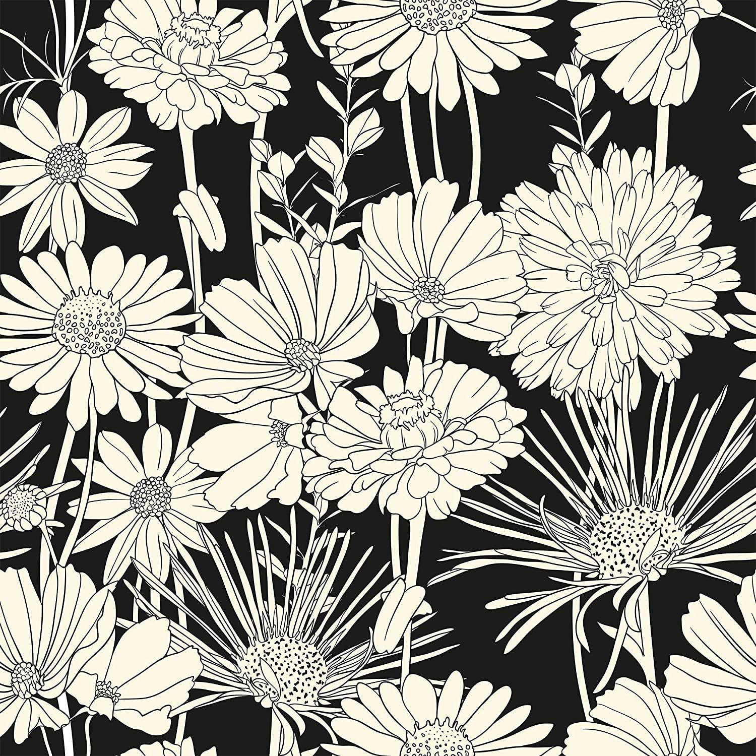 Wallsbyme Peel And Stick White And Black Hand Drawn Floral Fabric