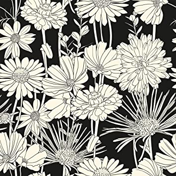 Wallsbyme Peel And Stick White And Black Hand Drawn Floral Fabric Removable Wallpaper 5539 2ft X 4ft 61x122cm Amazon Com