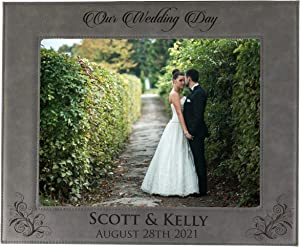 Personalized Wedding Gift Picture Frame - Custom Engraved Newlywed Photo Gifts (8 x 10)
