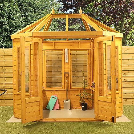 Green Planet UK - Invernadero de estilo octogonal de 8 x 6 pulgadas, ventanas de estireno vidriado, madera certificada por FSC, doble puerta, revestimiento de lengüeta y ranura de 12 mm (8
