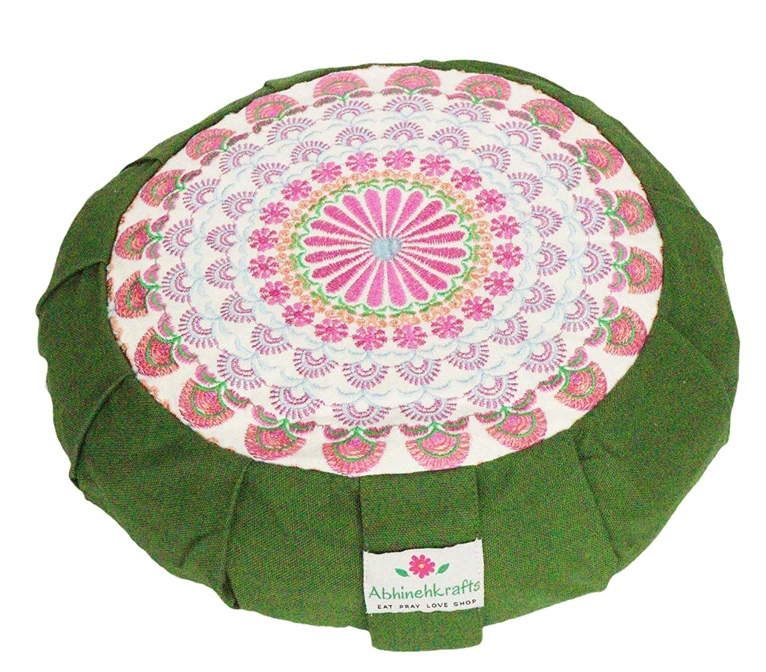 Embroidered Round Zafu Cotton Yoga Pillow Portable Zipped Cover Washable Green