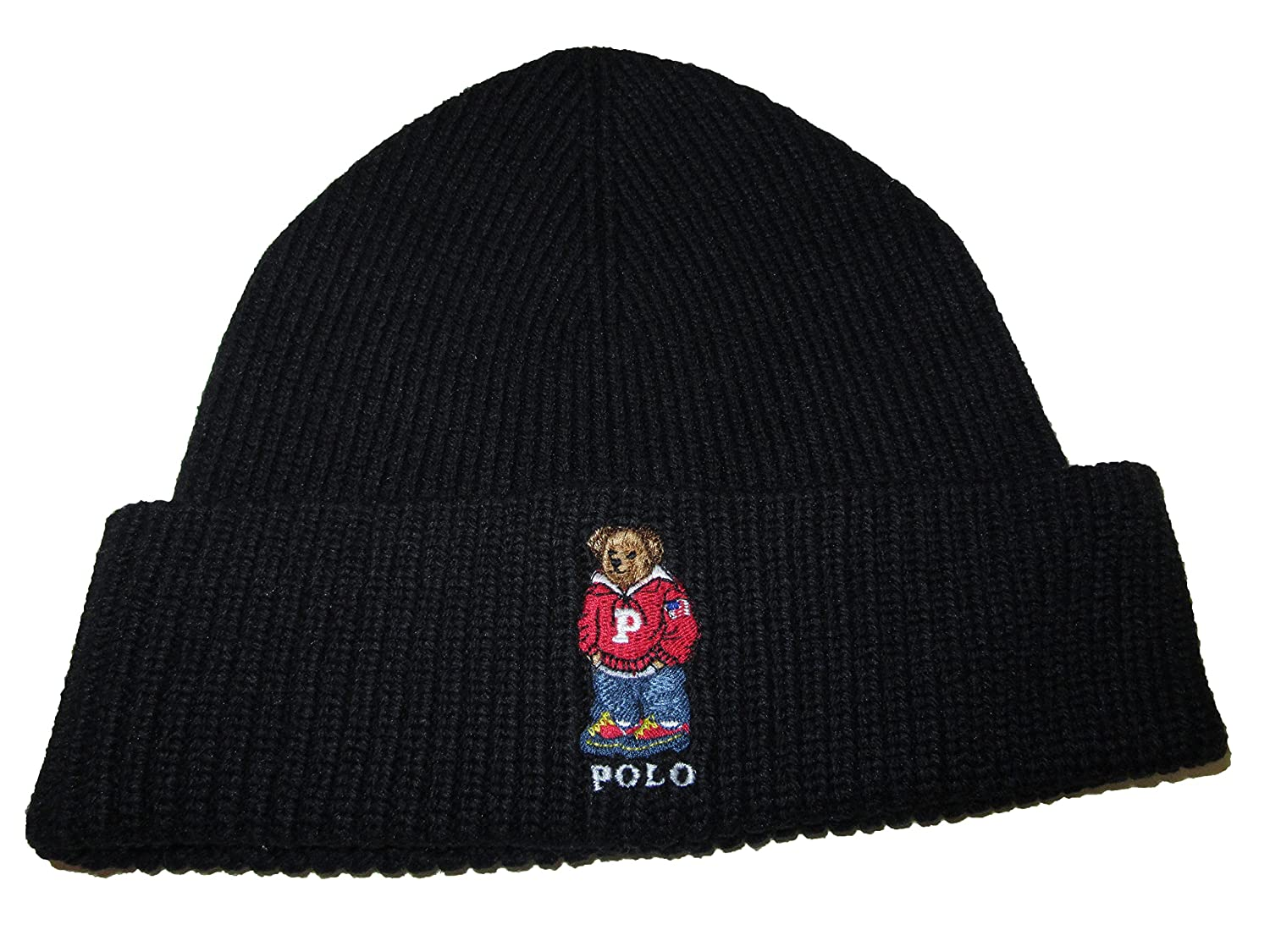 Ralph Lauren Polo Adult s Cuffed Teddy Bear Beanie Knit Hat One Size -  Black -  Amazon.co.uk  Clothing b0703fa72da
