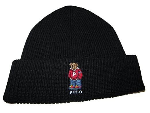 Ralph Lauren Polo Adult s Cuffed Teddy Bear Beanie Knit Hat One Size -  Black - 381f9c7b0eb