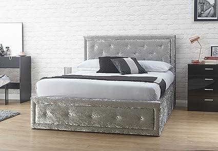 Hollywood Levante Otomano, de terciopelo cama gris plata King Size ...