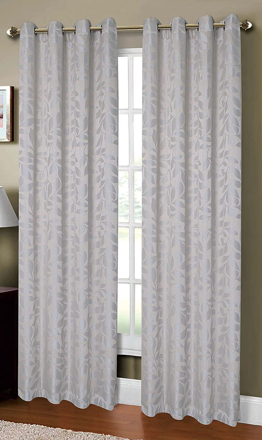 Taupe Creative Home Ideas YMC002008 Curtain Panel Pair Window Elements Alpine Textured Woven Leaf Jacquard Grommet  108 x 96 in