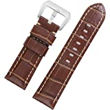 20mm Padded Leather Watch Bands Brown Italian Calfskin for Luxury Chronograph Wristwatches