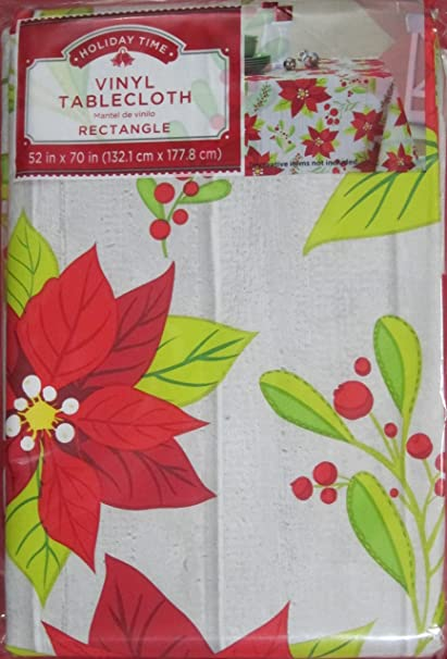 Amazon.com: Holiday Time Christmas Contemporary Poinsettia Tablecloth 52 In  X 70 In: Home U0026 Kitchen