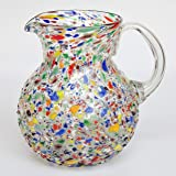 Mexican Blown Glass Pitcher and 6 Drinking Glasses