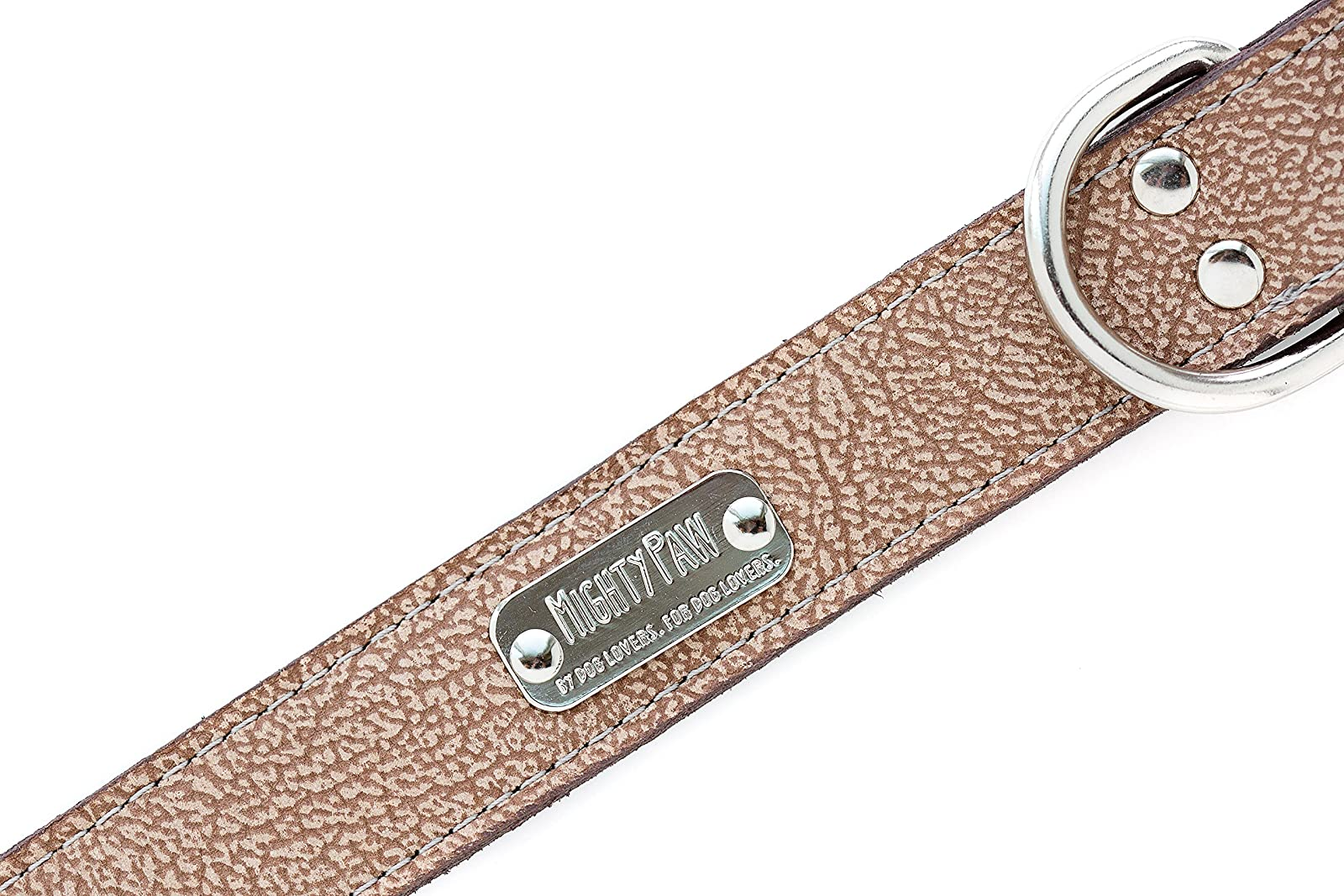 Mighty Paw Leather Dog Collar Super Soft Light Brown - 1