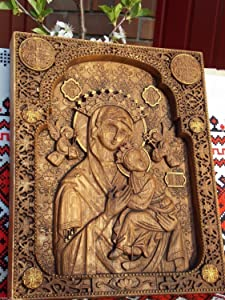 Our Lady of Perpetual Icon Orthodox icon personalized engraved religious birthday gift Wood Carved religious home decor FREE ENGRAVING FREE SHIPPING