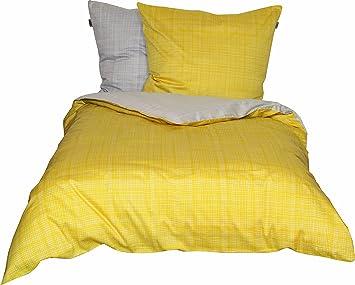 Amazonde Schöner Wohnen Bettwäsche Set 100 Prozent Co Gelb Grau