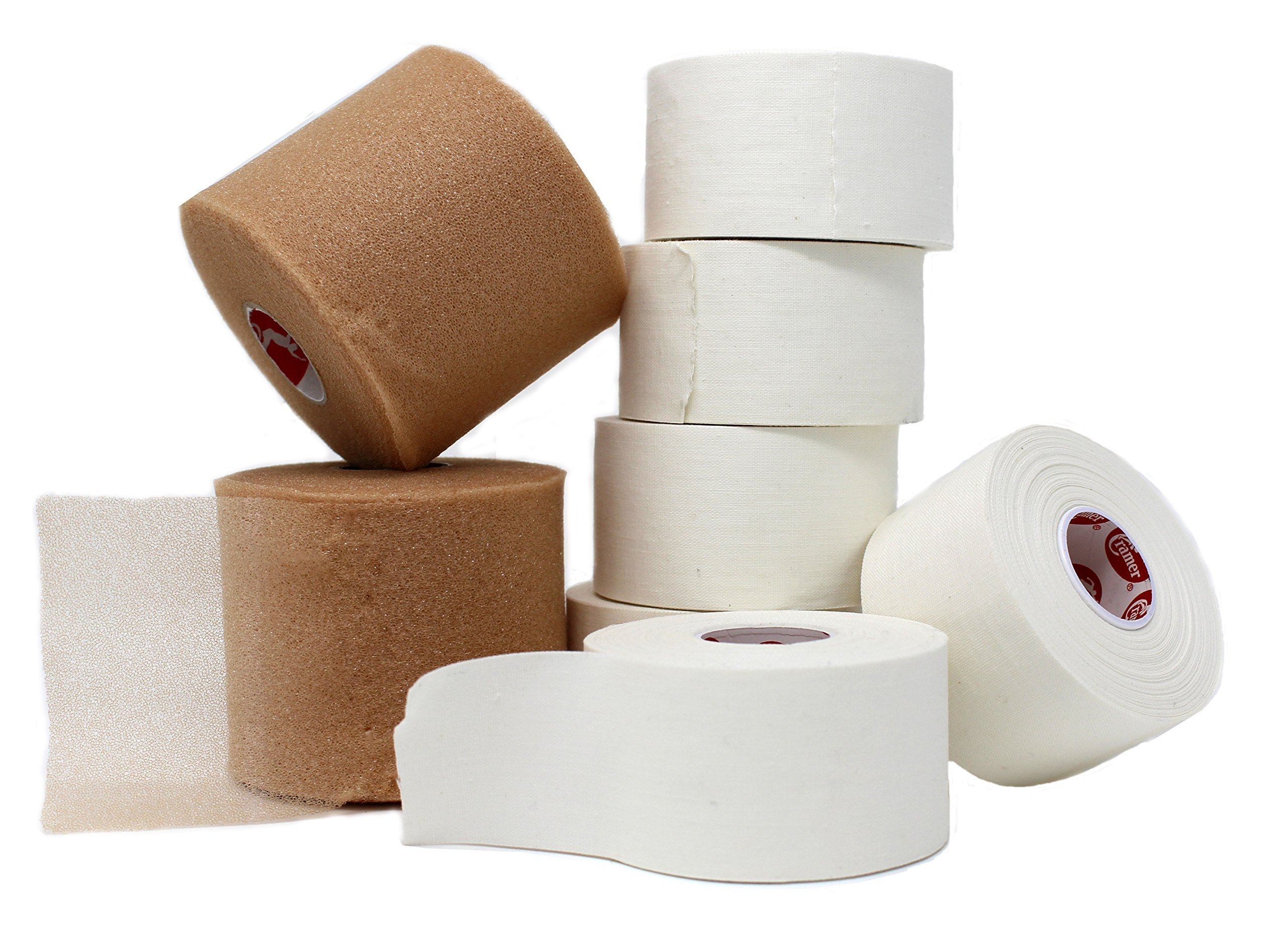 Athletic Tape and Pre Wrap Kit: – 6 Rolls of White Athletic Tape 1.5'' x 15 yds & 2 Rolls of Pre Wrap - high quality, very strong, no residue, easy tear - save money with this bundle