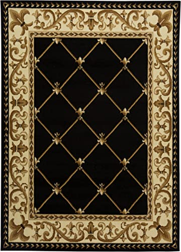 Antep Rugs Kashan King Collection Ephesus Geometric Area Rug, 96 W x 120 L, Black and Beige