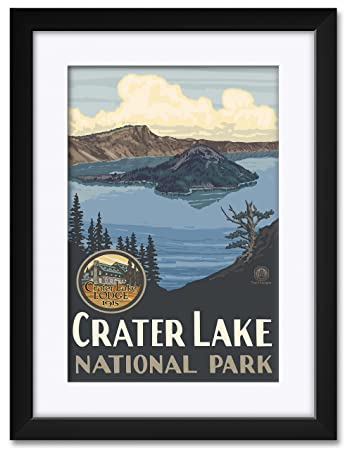 Crater Lake National Park Framed Matted Art Print by Paul A. Lanquist. Print Size 12 x 18 Framed Art Size 18 x 24
