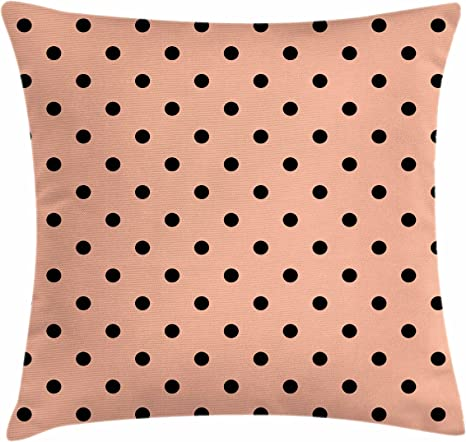 Ambesonne Peach Throw Pillow Cushion Cover Traditional Black Polka Dots On Soft Colored Background Abstract European Design Decorative Square Accent Pillow Case 16 X 16 Peach Black Home Kitchen