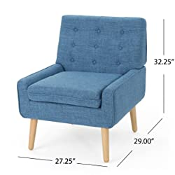Eonna Buttoned Mid Century Modern Muted Blue Fabric Chair