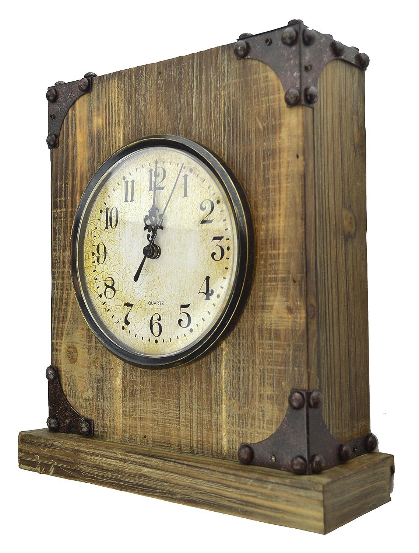 Lulu Decor, Shabby Chic Rustic Wood Tabletop Clock with Key Holder in Hidden Area (Desk Clock)
