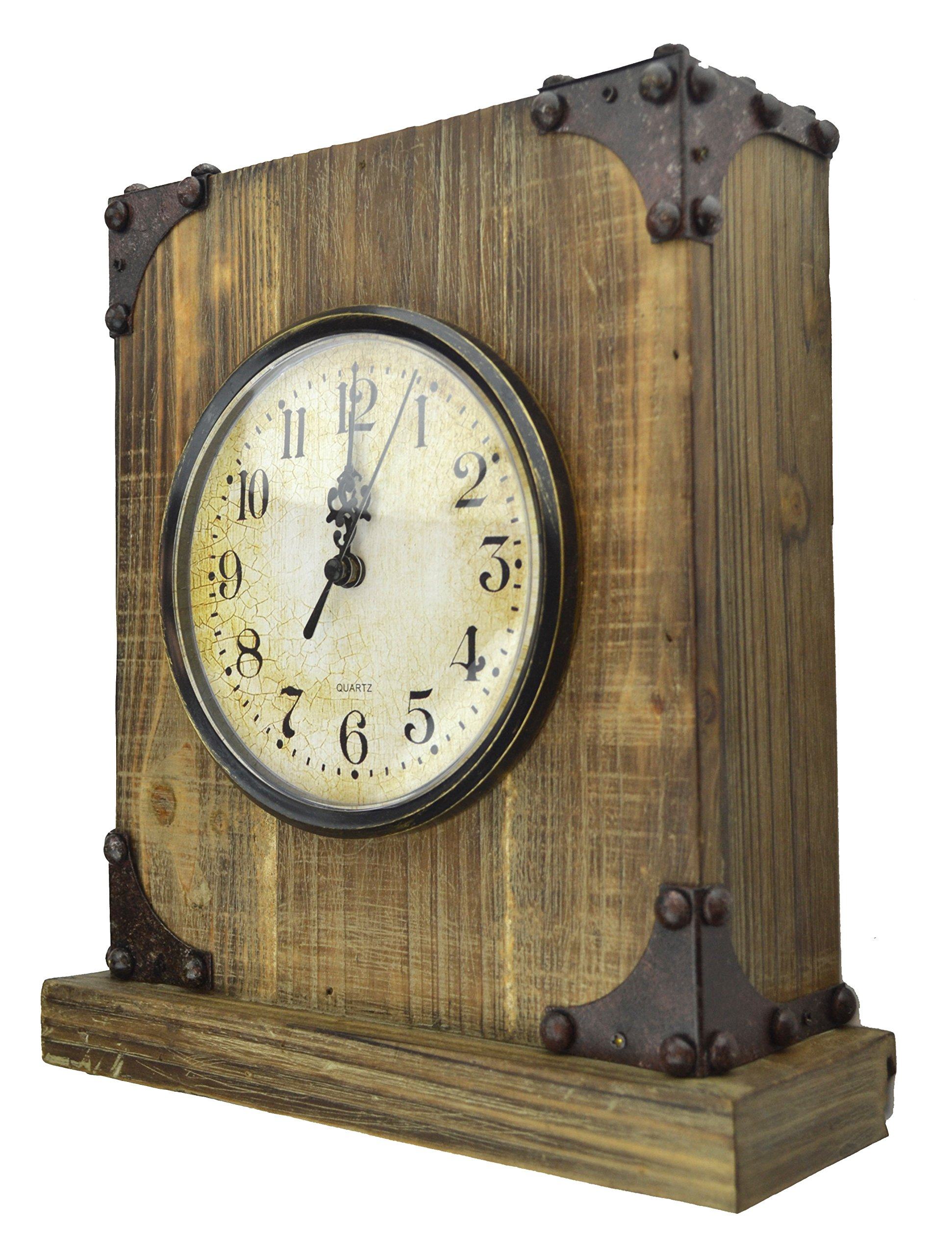 LuLu Decor, Rustic Wood Tabletop Clock with Key Holder in Hidden Area (Desk Clock)